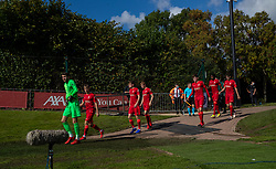 LIVERPOOL, ENGLAND - Wednesday, September 15, 2021: Liverpool's goalkeeper Harvey Davies and team-mates walk out for the second half during the UEFA Youth League Group B Matchday 1 game between Liverpool FC Under19's and AC Milan Under 19's at the Liverpool Academy. Liverpool won 1-0. (Pic by David Rawcliffe/Propaganda)
