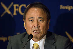 June 23, 2017 - Tokyo, Tokyo, Japan - Hiroji Yamashiro, Chairman Okinawa Peace Movement gives a response to questions during a press conference at The Foreign Correspondent Club Of Japan ( FCCJ ) in Tokyo. In March, Japanese police released Hiroji Yamashiro, a retired civil servant, after 152 days in detention. His initial arrest was for damaging a wire fence around an American military base; he was subsequently charged with other offenses. For years, Yamashiro (65) was the jovial ringleader of protests against the heavy US military footprint on Okinawa, Japan's southernmost prefecture. Yamashiro is currently on trial and facing a possible return to prison. He was born as a son of a farmer in 1952 in Uruma City, Okinawa and worked as a civil servant in the Okinawa prefecture government office from 1982 to 2008. He has been chairman of the Okinawa Peace Movement Center since 2013. Okinawans have long lived uneasily with 19,000 marines and dozens of military installations, including the US Army's only jungle warfare training unit, all on the prefecture's narrow main island. Opposition has been building against the proposed replacement of the Futenma air base, in crowded Ginowan's city centre, with a new installation off Henoko Village in the north of the island. Next month, Okinawa Prefecture is expected to file suit against the Japanese government to stop construction in Henoko – the latest development in a dispute that has raged for two decades. (Credit Image: © Alessandro Di Ciommo via ZUMA Wire)