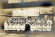 ceremonial group gathering women workers portrait vintage Japan