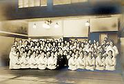 ceremonial group gathering women workers portrait vintage Japan