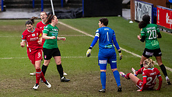 BIRKENHEAD, ENGLAND - Sunday, March 14, 2021: Liverpool's captain Niamh Fahey celebrates after scoring the first goal during the FA Women's Championship game between Liverpool FC Women and Coventry United Ladies FC at Prenton Park. Liverpool won 5-0. (Pic by David Rawcliffe/Propaganda)