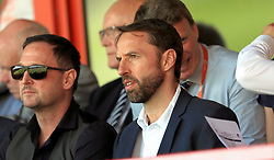 England manger Gareth Southgate (centre) watches on during the UEFA European U17 Championship, Group A match at Banks's Stadium, Walsall.