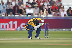 July 1, 2019 - Chester Le Street, County Durham, United Kingdom - Sri Lanka's Dimuth Karunaratne ducks under a short pitched ball from West Indies' Sheldon Cottrell during the ICC Cricket World Cup 2019 match between Sri Lanka and West Indies at Emirates Riverside, Chester le Street on Monday 1st July 2019. (Credit Image: © Mi News/NurPhoto via ZUMA Press)