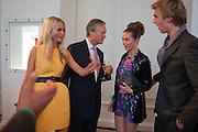 POPPY DELEVIGNE; CHARLES DELEVIGNE; SASKIA BOXFORD; JAMES COOK, Cartier Tank Anglaise launch. Kensington Palace Orangery, London.  19 April 2012.