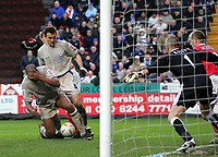 Photo:  Frances Leader.<br /> Charlton v Leicester. FA cup fifth round. <br /> The Valley<br /> 19/02/2005<br /> Leicester's Dion Dublin heads a goal that was not allowed against charlton.