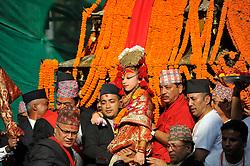 September 15, 2016 - Kathmandu, Nepal - Devotees carrying Goddess 'Kumari' for the chariot pulling festival on the third day of Indra Jatra Festival celebrated at Basantapur Durbar Square, Kathmandu. Devotees celebrated the god of rain 'Indra' for 8 days in Kathmandu. (Credit Image: © Narayan Maharjan/Pacific Press via ZUMA Wire)