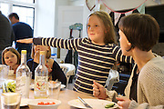 In the Bakers' kitchen, Pickwell Manor, Georgeham, North Devon, UK.<br /> Molly Elliott (10) in the center.<br /> CREDIT: Vanessa Berberian for The Wall Street Journal<br /> HOUSESHARE