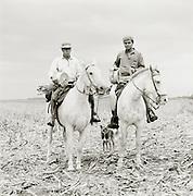 Gauchos with their horses, Pampas District, Argentinca