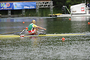 Lucerne, SWITZERLAND. A final  BLR W1X Ekaterine KARSTEN- KHODOTOVITCH, in the final strokes of the final and  Gold Medalist women's single sculls,  at the  2008 FISA World Cup Regatta, Round 2.  Lake Rotsee, on Sunday, 01/06/2008.   [Mandatory Credit:  Peter Spurrier/Intersport Images].Lucerne International Regatta. Rowing Course, Lake Rottsee, Lucerne, SWITZERLAND.