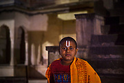 Young resident of a temple dedicated to the Hindu monkey god Hanuman on 22nd February 2018 in Jaipur, Rajasthan, India. This is one of the most famous Monkey God temples because a tribe of his present day monkey relatives resides there.
