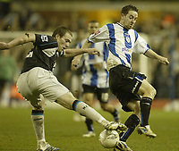 Photo: Aidan Ellis.<br /> Sheffield Wednesday v Manchester City. The FA Cup. 07/01/2007.<br /> Wednesday's Steve McLean loses out to City's Richard Dunne