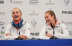 Auchterarder, Scotland, UK. 12 September 2019. Press conference with Team USA players, sisters Jessica (l) and Nelly Korda at the 2019 Solheim Cup. Pictured; Iain Masterton/Alamy Live News