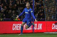 AFC Wimbledon midfielder Scott Wagstaff (7) celebrating after scoring goal to make it 3-0 during the The FA Cup match between AFC Wimbledon and West Ham United at the Cherry Red Records Stadium, Kingston, England on 26 January 2019.