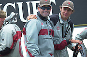 Team owner Ernesto Bertarelli and skipper Russel Coutts celebrate Alinghi's four nil victory over Oracle in the semi finals of the Louis Vuitton Cup 2002. (© Chris Cameron 2002)
