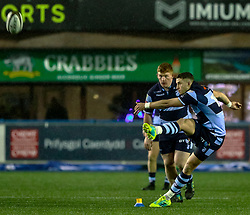 Steve Shingler of Cardiff Blues kicks a penalty<br /> <br /> Photographer Simon King/Replay Images<br /> <br /> Guinness PRO14 Round 14 - Cardiff Blues v Connacht - Saturday 26th January 2019 - Cardiff Arms Park - Cardiff<br /> <br /> World Copyright © Replay Images . All rights reserved. info@replayimages.co.uk - http://replayimages.co.uk