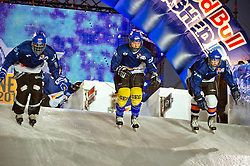 03-02-2012 SKATING: RED BULL CRASHED ICE WORLD CHAMPIONSHIP: VALKENBURG<br /> (L-R) Wesley de Bruin NED, Roby Haazen NED, Danny Hensen NED during a training session<br /> ©2012-FotoHoogendoorn.nl/Peter Schalk