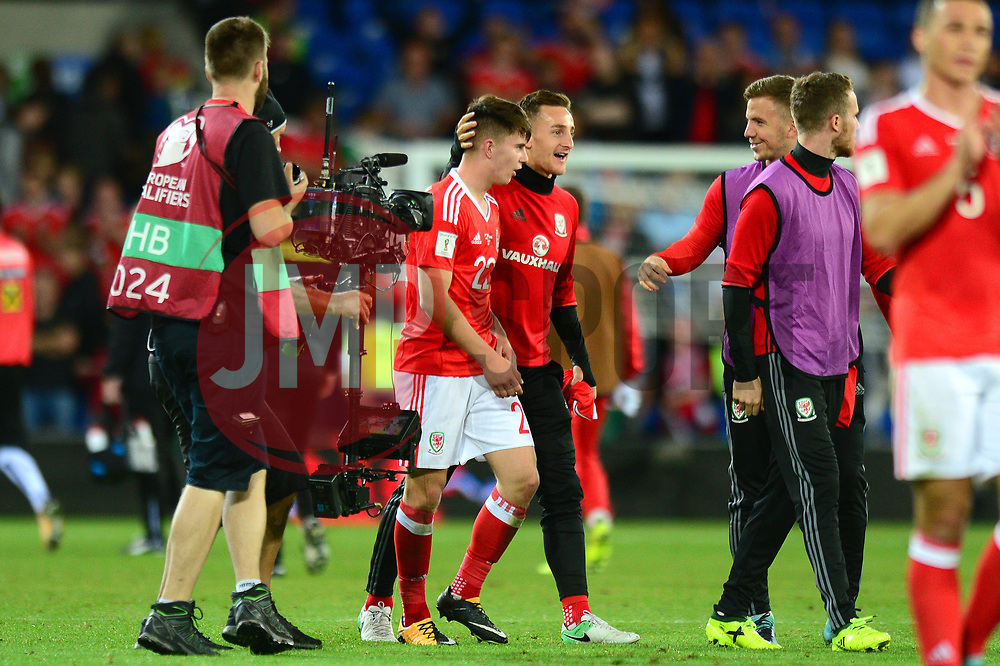 Ben Woodburn of Wales is congratulated by Tom Lockyer of Wales at the end of the game after his goal wins the game  - Mandatory by-line: Dougie Allward/JMP - 02/09/2017 - FOOTBALL - Cardiff City Stadium - Cardiff, Wales - Wales v Austria - FIFA World Cup Qualifier 2018