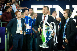 Andriy Shevchenko, Ukraine footballer walks out with the UEFA Champions League Trophy prior to the UEFA Champions League Final between Real Madrid and Liverpool at NSC Olimpiyskiy Stadium on May 26, 2018 in Kiev, Ukraine. Photo by Sandi Fiser / Sportida