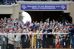 November 3, 2017 - San Diego, CA, USA - Fans watch the Breeders' Cup Juvenile Fillies Turf race at the Del Mar Thoroughbred Club on Friday, Nov. 3, 2017.  (Photo by K.C. Alfred/The San Diego Union-Tribune (Credit Image: © K.C. Alfred/San Diego Union-Tribune via ZUMA Wire)