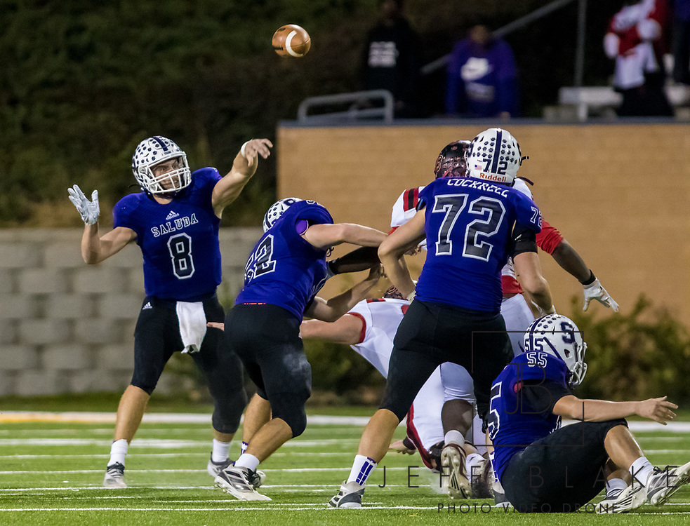 Saluda Tigers quarterback Noah Bell (8) passes against the Barnwell Warhorses in the Class AA State Championship game. 2019 Saluda State Championship Football Photos