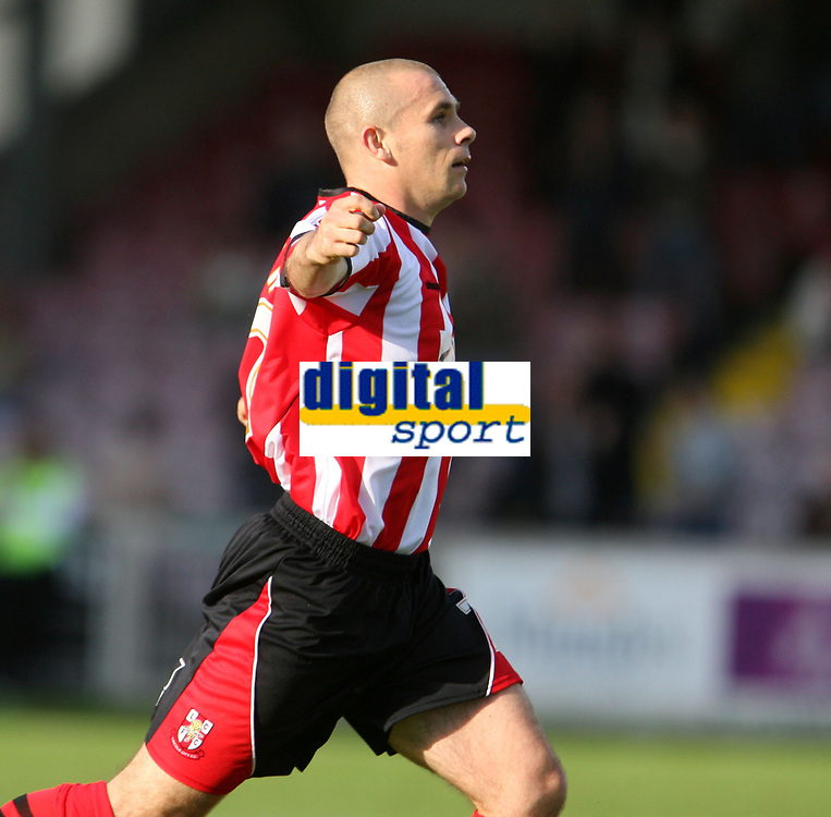 Photo: Pete Lorence.<br /> Lincoln City v Rochdale United. Coca Cola League 2. 21/10/2006.<br /> Jamie Forrester celebrates his first goal of the match, leading the squad to a 7-1 victory.