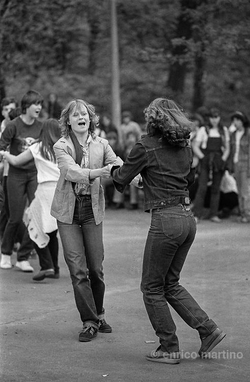 East Berlin, capital of DDR (German Democratic Republic. Young girls dancing in a open air ballroom.