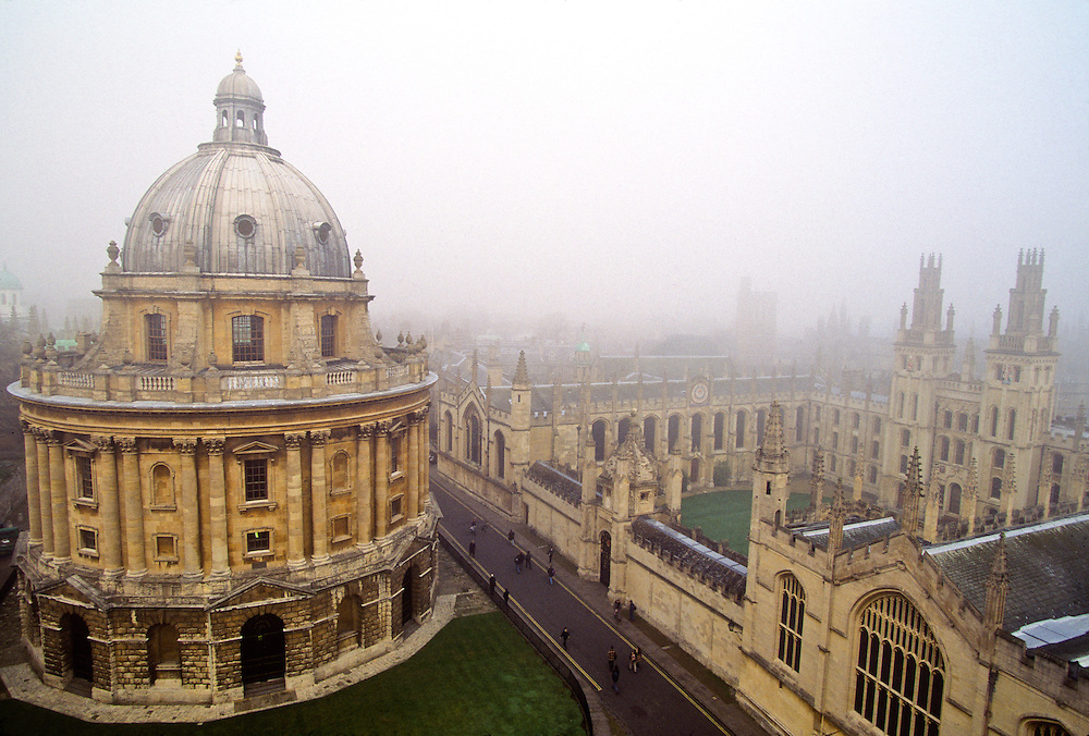 Oxford University, Oxford England.  Famous university library in the fog.