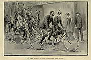 A couple on a tandem bike from 'Cycling' by The right Hon. Earl of Albemarle, William Coutts Keppel, (1832-1894) and George Lacy Hillier (1856-1941); Joseph Pennell (1857-1926) Published by London and Bombay : Longmans, Green and co. in 1896. The Badminton Library