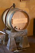 Oak barrel aging and fermentation cellar. Chateau de Haux, Bordeaux, France