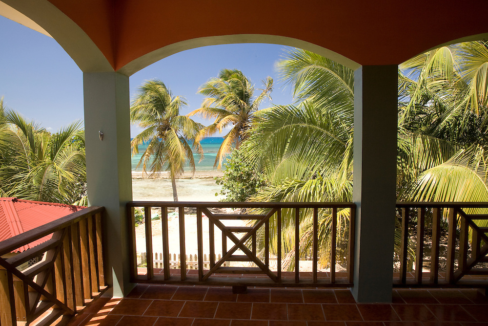 Caribbean, Puerto Rico, Vieques.  Caribbean, beach and palm trees, viewed from porch of house/hotel.  PR