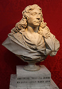 Edward Pearce (about 1630-1695) Sir Christopher Wren, Marble.  Sir Christopher Wren was the pre-eminent architect of the day. This lively portrait is one of the most remarkable sculpted in England in the 1600's. It was made about 1673. Pearce was a varver, mason, contractor and designer who had worked with Wren on three of the architect's London churches, built after the Great Fire of London.