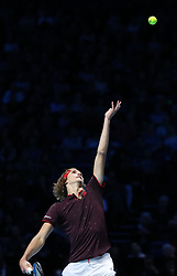Alexander Zverev plays a shot against Marin Cilic during day one of the NITTO ATP World Tour Finals at the O2 Arena, London.