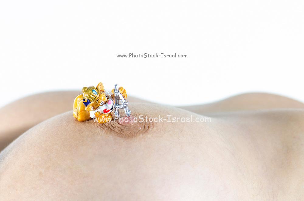 miniature toy measuring woman's nipple