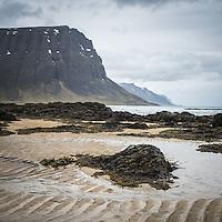Seascape from Arnarfjörður, mount Hringdalsnúpur in background. West fiords of Iceland.