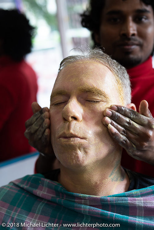 Denver Joe Hicks gets a haircut on day-8 of our Himalayan Heroes adventure, a free day in Pokhara, Nepal. Tuesday, November 13, 2018. Photography ©2018 Michael Lichter.