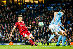 Jamie Paterson of Bristol City shoots - Rogan/JMP - 09/01/2018 - Etihad Stadium - Manchester, England - Manchester City v Bristol City - Carabao Cup Semi Final First Leg.