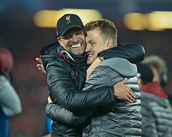 BRITAIN-LIVERPOOL-FOOTBALL-UEFA CHAMPIONS LEAGUE-LIVERPOOL VS FC BARCELONA..(190507) -- LIVERPOOL, May 7, 2019  Liverpool's manager Jürgen Klopp (L) celebrates with goalkeeper Simon Mignolet after the UEFA Champions League Semi-Final second Leg match between Liverpool FC and FC Barcelona at Anfield in Liverpool, Britain on May 7, 2019. Liverpool won 4-3 on aggregate and reached the final. FOR EDITORIAL USE ONLY. NOT FOR SALE FOR MARKETING OR ADVERTISING CAMPAIGNS. NO USE WITH UNAUTHORIZED AUDIO, VIDEO, DATA, FIXTURE LISTS, CLUBLEAGUE LOGOS OR ''LIVE'' SERVICES. ONLINE IN-MATCH USE LIMITED TO 45 IMAGES, NO VIDEO EMULATION. NO USE IN BETTING, GAMES OR SINGLE CLUBLEAGUEPLAYER PUBLICATIONS. (Credit Image: © Xinhua via ZUMA Wire)