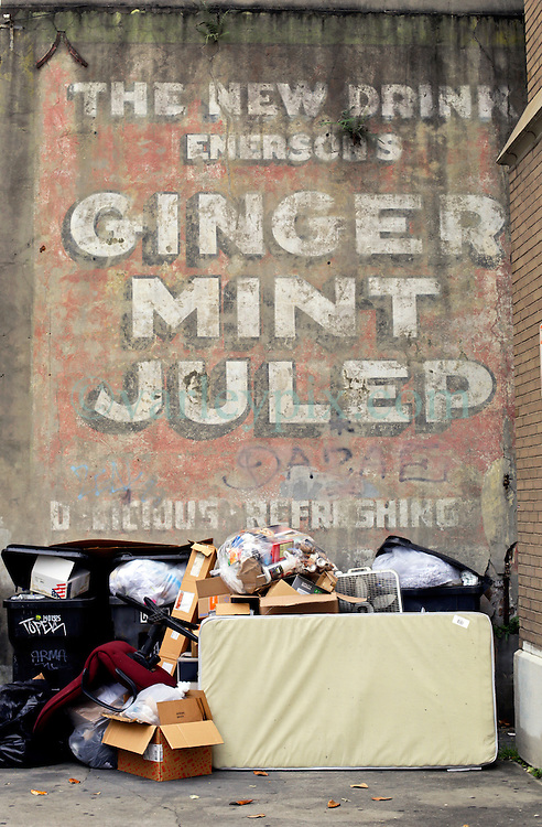 20 April 2015. New Orleans, Louisiana.<br /> An old sign for ginger mint julep in the French Quarter. <br /> Photo; Charlie Varley/varleypix.com