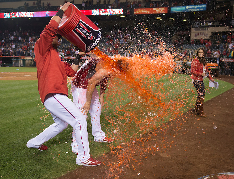 The Angels' C.J. Cron is doused by Jett Bandy after his walk-off home run in the ninth inning during the Angels' 11-9 victory over the Detroit Tigers Tuesday at Angel Stadium.<br /> <br /> ///ADDITIONAL INFO:   <br /> <br /> angels.0531.kjs  ---  Photo by KEVIN SULLIVAN / Orange County Register  -- 5/31/16<br /> <br /> The Los Angeles Angels take on the Detroit Tigers Tuesday at Angel Stadium.