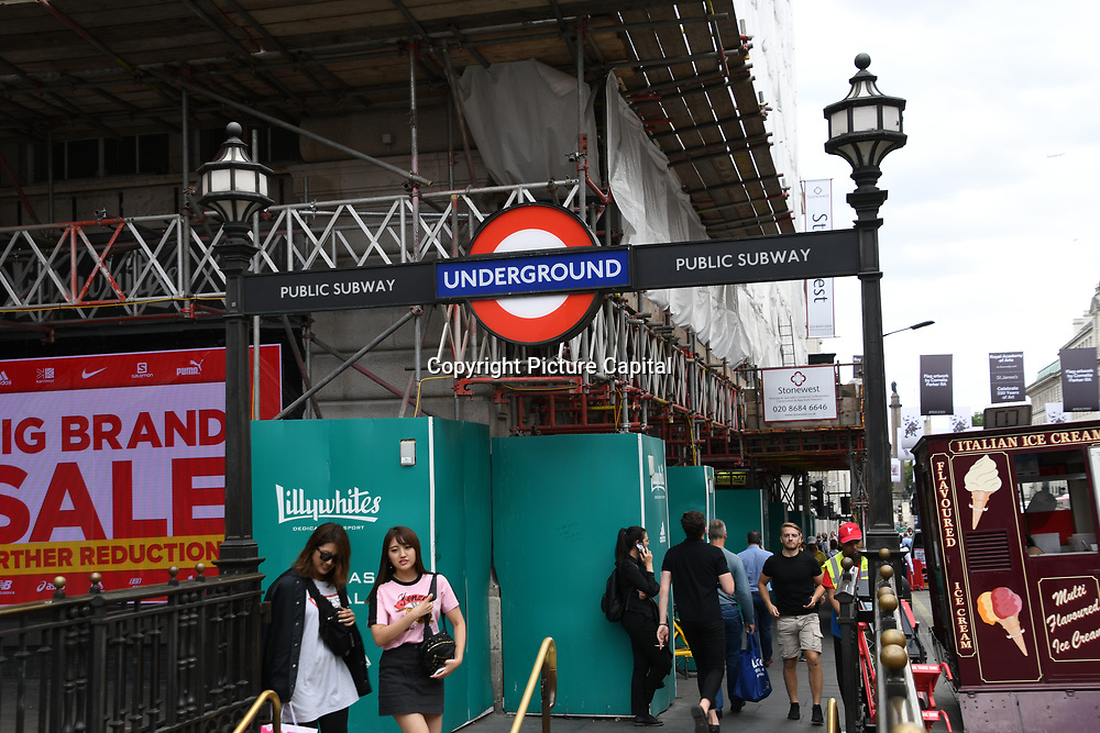 Piccadilly subway underground sight at Piccadilly circus - Westend, London, UK July 19 2018.