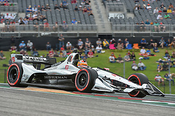 March 23, 2019 - Austin, TX, U.S. - AUSTIN, TX - MARCH 23: Santino Ferrucci (19) of Dale Coyne Racing driving a Honda races out of turn 1 during the IndyCar afternoon qualifications at Circuit of the Americas on March 23, 2019 in Austin, Texas. (Photo by Ken Murray/Icon Sportswire) (Credit Image: © Ken Murray/Icon SMI via ZUMA Press)