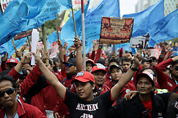 May 1, 2019 - Jakarta, Capital Region of Jakarta, Indonesia - Thousand of labours from various labour organizations commemorating the International Labour Day or knows as May Day in Jakarta on May 1, 2019. In the 2019 May day commemoration, workers carried out long marches, theatrical dramas, and speeches as a form of conveying their aspirations to the government to abolish the outsourcing and contract work system, as well as wage laws which considered benefit the corporation, but not workers. (Credit Image: © Aditya Irawan/NurPhoto via ZUMA Press)