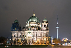 Night view of Berlin Cathedral , Berliner Dom, in Mitte Berlin , Germany
