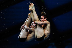 Eventual Winners Tom Daley from Dive London Aquatics Club and Daniel Goodfellow from Plymouth Diving compete in the Mens Synchronised 10m Platform Final - Mandatory byline: Rogan Thomson/JMP - 10/06/2016 - DIVING - Ponds Forge - Sheffield, England - British Diving Championships 2016 Day 1.
