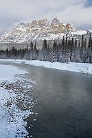 Castle Mountain and the Bow River in winter, Banff National Park Alberta Canada