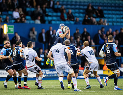 Matthew Morgan of Cardiff Blues claims the high ball<br /> <br /> Photographer Simon King/Replay Images<br /> <br /> Guinness PRO14 Round 2 - Cardiff Blues v Edinburgh - Saturday 5th October 2019 -Cardiff Arms Park - Cardiff<br /> <br /> World Copyright © Replay Images . All rights reserved. info@replayimages.co.uk - http://replayimages.co.uk