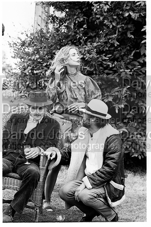 Hugh Purcell, Erica Vickers and David Kirke, Dangerous Sports Club tea Party at Robert Fack's House Gloucestershire. England. 1981© Copyright Photograph by Dafydd Jones 66 Stockwell Park Rd. London SW9 0DA Tel 020 7733 0108 www.dafjones.com
