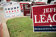 A campaign sign for Donald Trump outside a polling location in Plano, Texas on November 8, 2016. (Cooper Neill for The Texas Tribune)