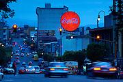 Costa Rica, San Jose, Coca-Cola Bus Stop Sign, Avenue 1
