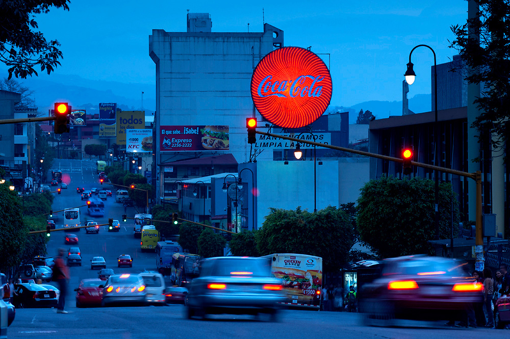 Costa Rica, San Jose, Coca-Cola Bus Stop Sign, Avenue 1